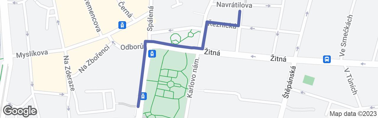 Mapa zobrazující trasu na Google mapách