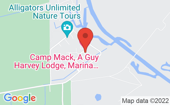 Map showing location of Camp Mack, a Guy Harvey Lodge, Marina & RV Resort