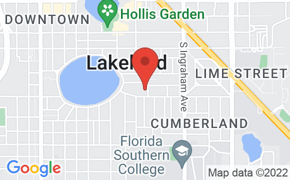 Map showing location of Polk Museum of Art at Florida Southern College