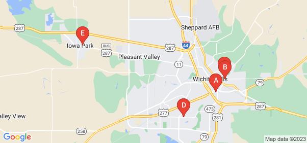 Google static map for Wichita County