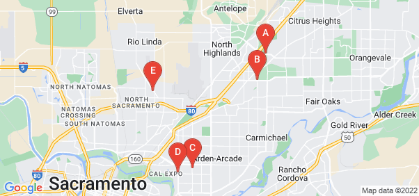 Google static map for Sacramento