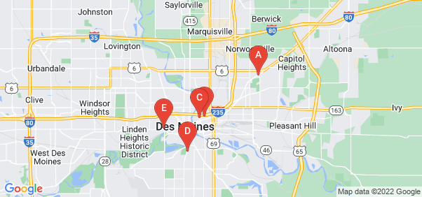 Google static map for Des Moines