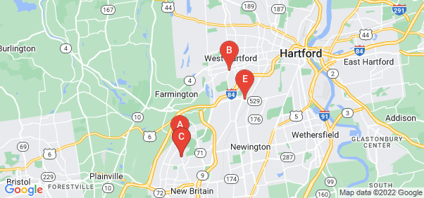 Google static map for Hartford County