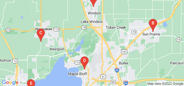 Google static map for Dane County