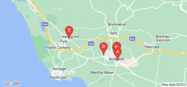 Google static map for Bridgend