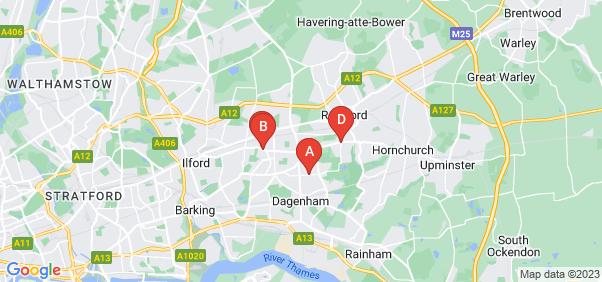 Google static map for Dagenham