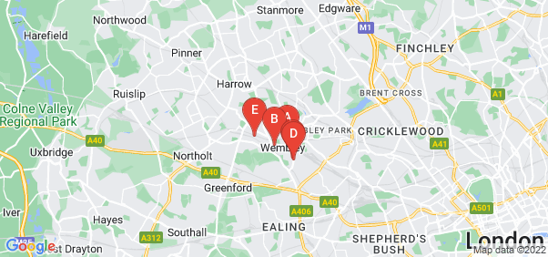 Google static map for Wembley