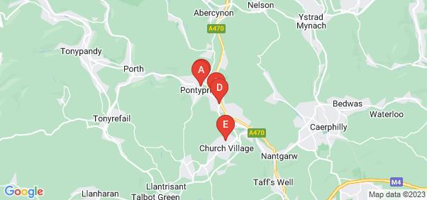 Google static map for Pontypridd