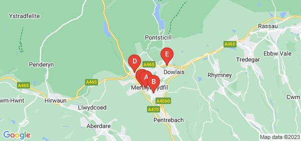 Google static map for Merthyr Tydfil