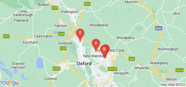 Google static map for Oxfordshire
