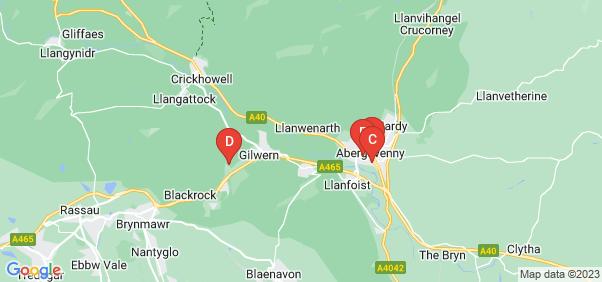 Google static map for Abergavenny