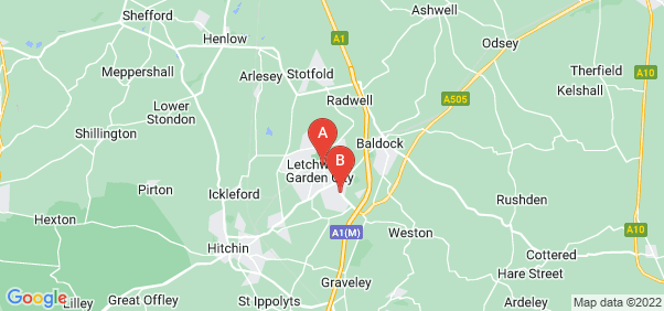 Google static map for Letchworth Garden City