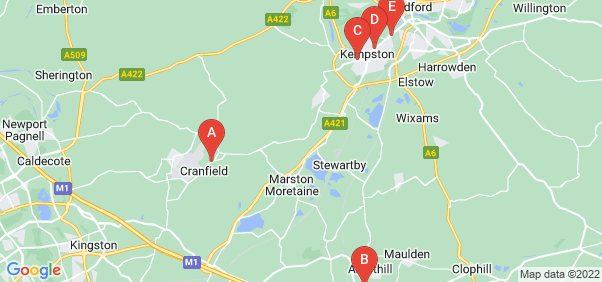Google static map for Bedfordshire