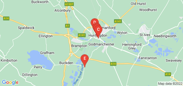 Google static map for Huntingdon