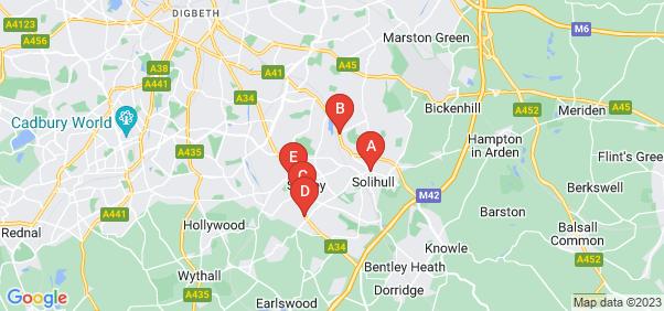 Google static map for Solihull