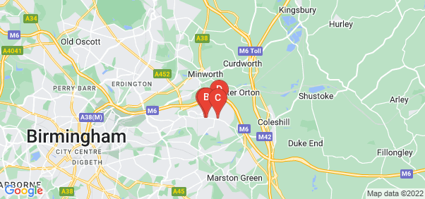 Google static map for Castle Bromwich
