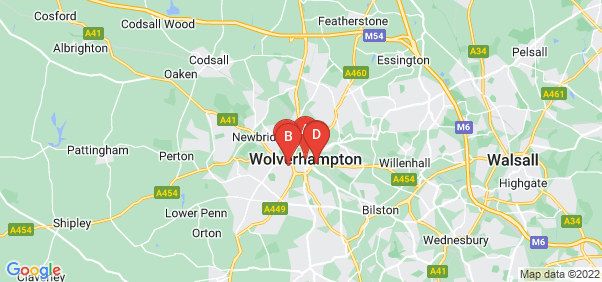 Google static map for Wolverhampton