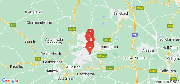 Google static map for Crewe