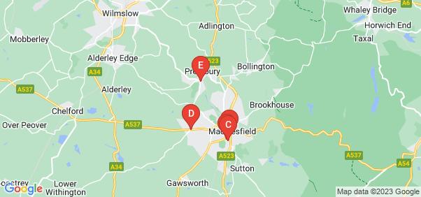 Google static map for Macclesfield