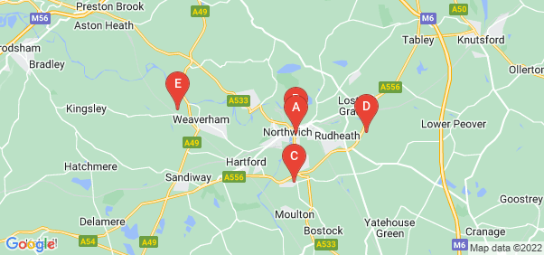 Google static map for Northwich
