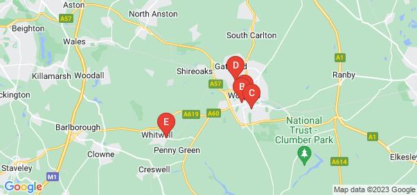 Google static map for Worksop