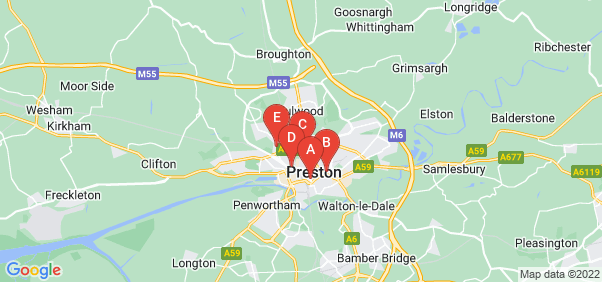 Google static map for Lancashire