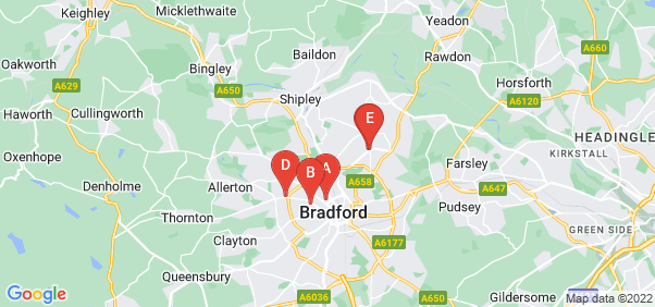 Google static map for West Yorkshire
