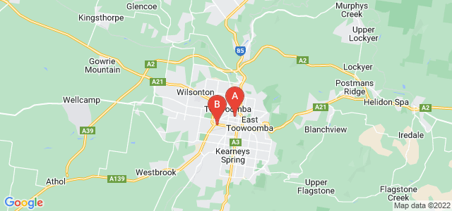 Google static map for Toowoomba