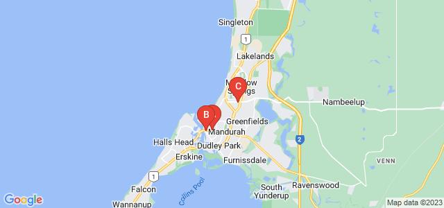 Google static map for Mandurah