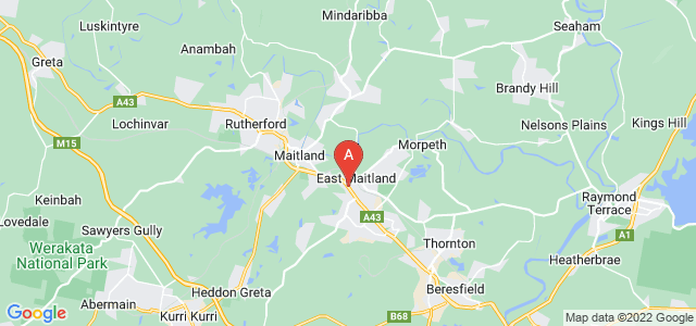Google static map for East Maitland