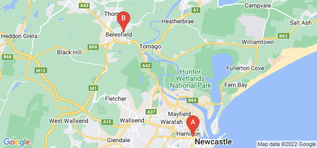 Google static map for Newcastle