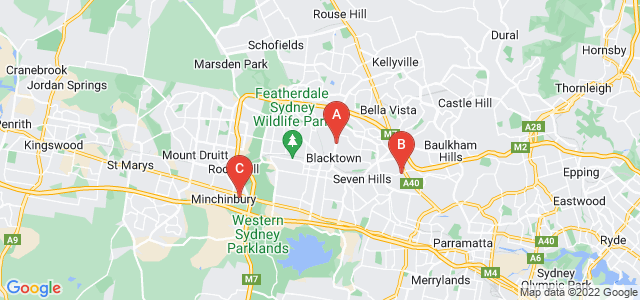 Google static map for Blacktown