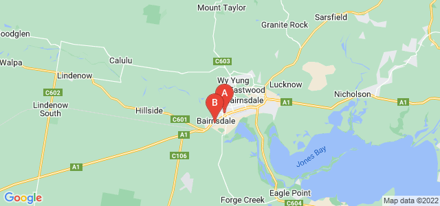 Google static map for Bairnsdale