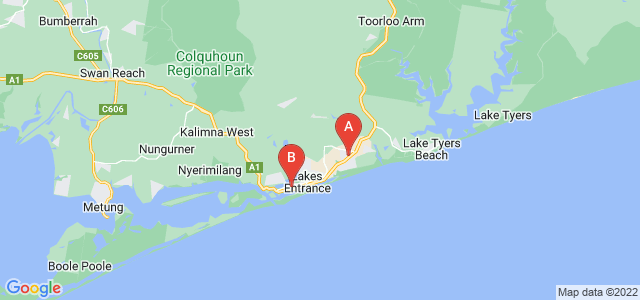 Google static map for Lakes Entrance