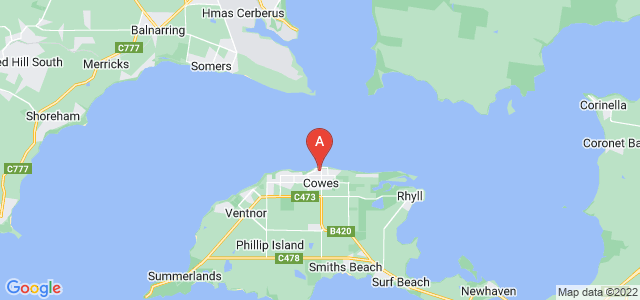 Google static map for Phillip Island