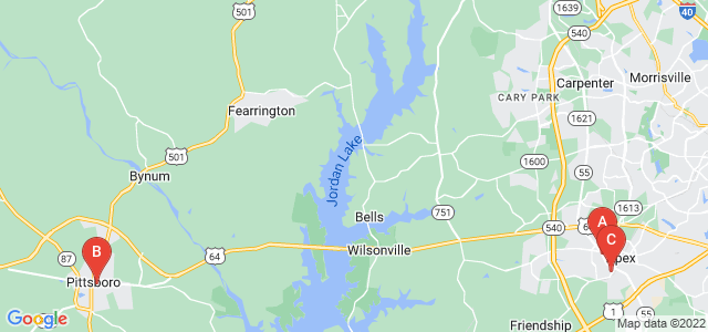 Google static map for North Carolina