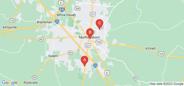 Google static map for Murfreesboro