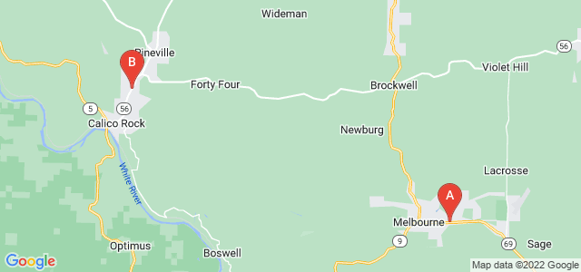 Google static map for Izard County