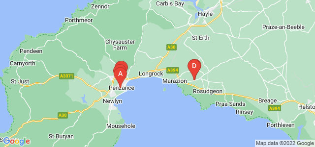 Google static map for Penzance