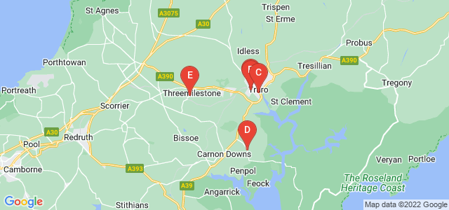 Google static map for Cornwall