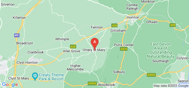 Google static map for Ottery Saint Mary