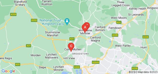 Google static map for Wimborne