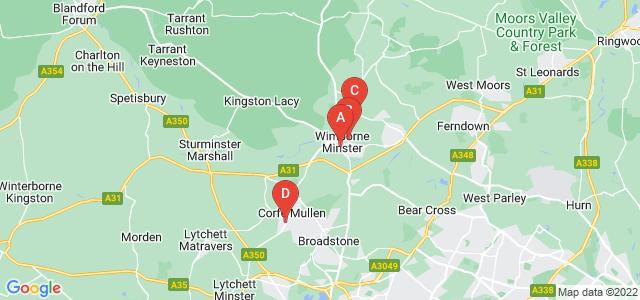 Google static map for Wimborne