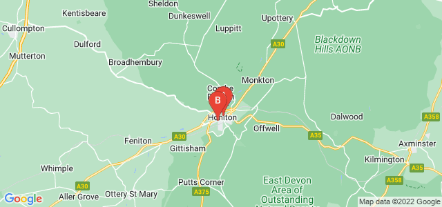 Google static map for Honiton