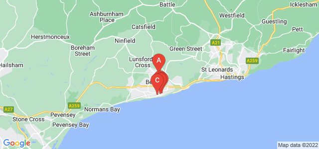 Google static map for Bexhill On Sea