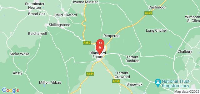 Google static map for Blandford Forum