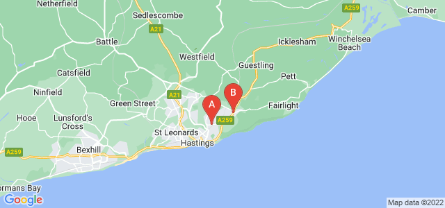 Google static map for Hastings