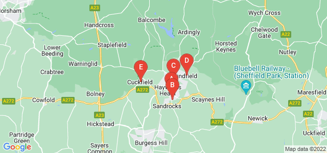 Google static map for Haywards Heath