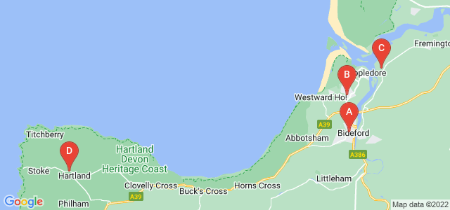 Google static map for Bideford