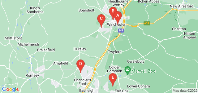 Google static map for Hampshire
